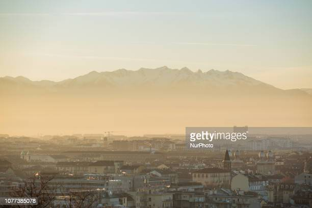 View from the Monte dei Cappuccini on the heavy smog and air pollution in the capital of the Northern Italien region Piedmont Turin on January 4 2019