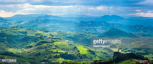 view from the monte (mount) titano - republic of san marino stock photos and pictures
