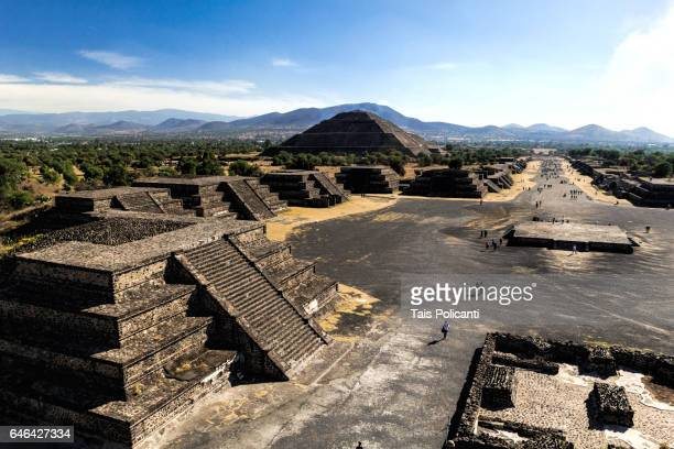 View from the Moon Pyramid to the Road of the Dead in Ancient Teotihuacan Pyramids in Mexico
