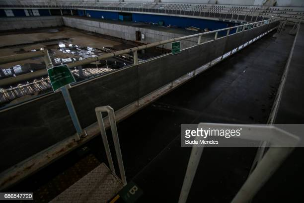 A view from the mostly abandoned Olympic Aquatics stadium at the Olympic Park on May 20 2017 in Rio de Janeiro Brazil In the nine months after the...