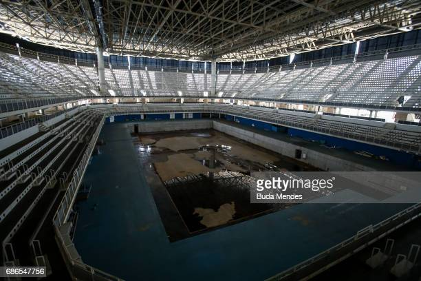 View from the mostly abandoned Olympic Aquatics stadium at the Olympic Park on May 20, 2017 in Rio de Janeiro, Brazil. In the nine months after the...