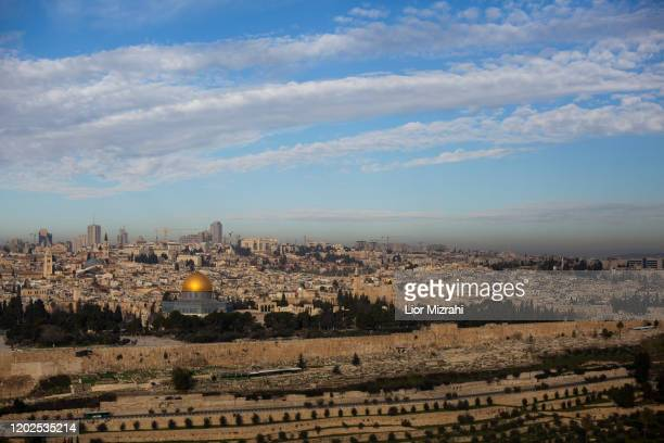 View from the Mount of Olives of the Old City of Jerusalem including the Dome of the Rock on January 28, 2020 in Jerusalem, Israel. U.S. President...