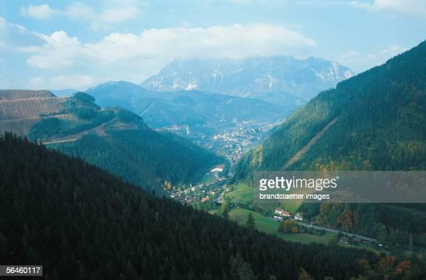 View from the mountain Praebichl over Eisenerz Styria Austria [Blick vom Praebichl nach Norden ueber Eisenerz zum Kaiserschild Steiermark oesterreich...