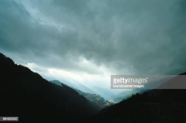 View from the mountain Praebichl Styria Austria [Blick vom Praebichl hinunter nach Eisenerz Steiermark oesterreich Photographie]