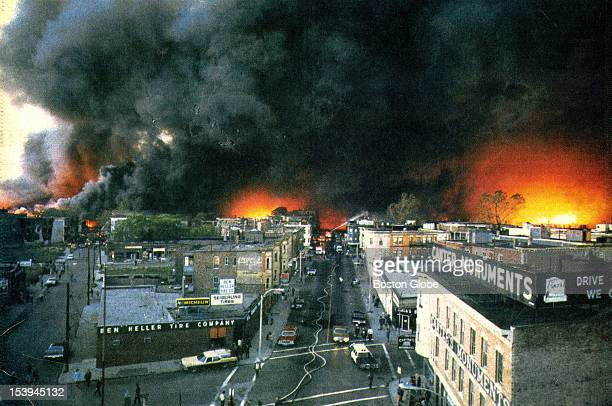 View from the Mystic River Bridge as fire raced through Chelsea Box 215 the same box which sounded the alarm for the Chelsea fire of 1908 was pulled...