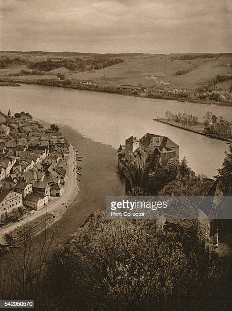 View from the Oberhaus to the Niederhaus and the junction of the Inn Danube and Ilz' 1931 From Deutschland by Kurt Hielscher [F A Brockhaus Leipzig...