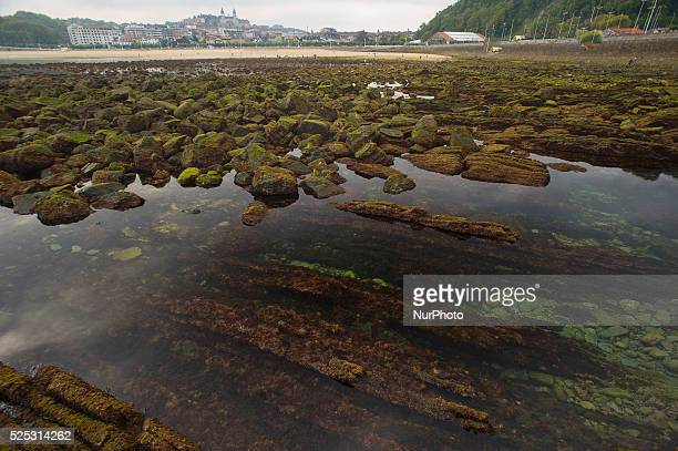 View from the Ondarreta beach in spring tides caused by the supermoon in San Sebastian Spain on September 29 2015