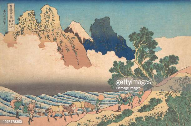 View from the Other Side of Fuji from the Minobu River , from the series Thirty-six Views of Mount Fuji , circa 1830-32. Artist Hokusai.