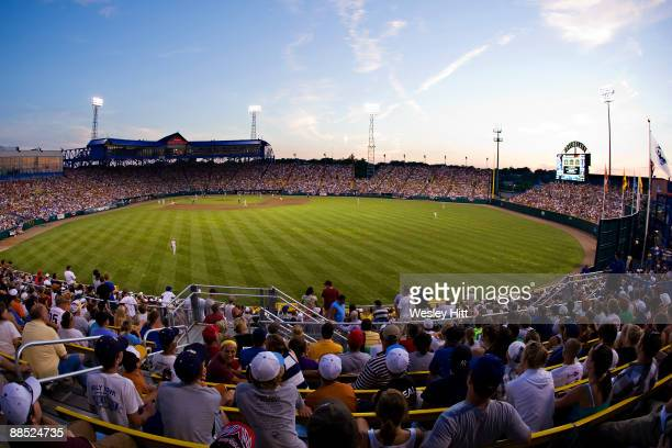 View from the outfield of Rosenblatt Stadium during a game between the Texas Longhorns and the Arizona State Sun Devils at the College World Series...