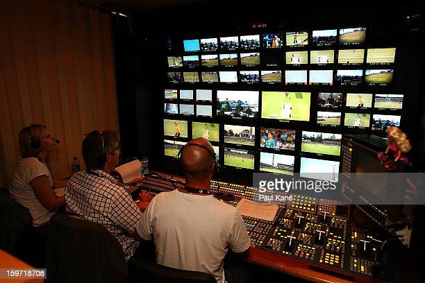 A view from the outside broadcast facility during the Big Bash League final match between the Perth Scorchers and the Brisbane Heat at the WACA on...