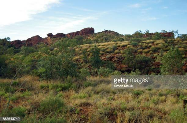 View from the path from carpark to Kings Canyon, Watarrka National Park, Northern Territory, Australia