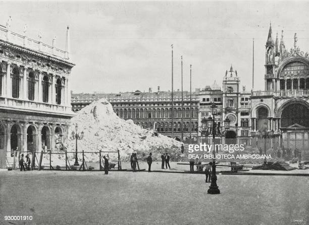 View from the Piazzetta with the debris of St Mark's Campanile Venice Italy photo by C Naya from L'illustrazione Italiana Year XXIX No 29 July 20 1902