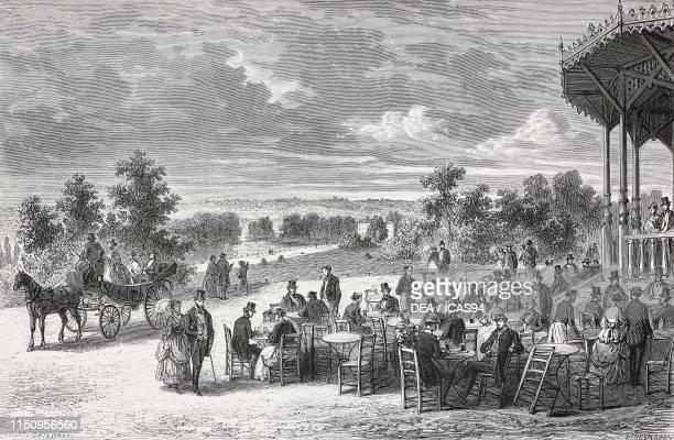 View from the Plateau de Gravelle, Bois de Vincennes, Paris, France, engraving after a drawing by Jules Gaildrau, from Les Promenades de Paris , by...