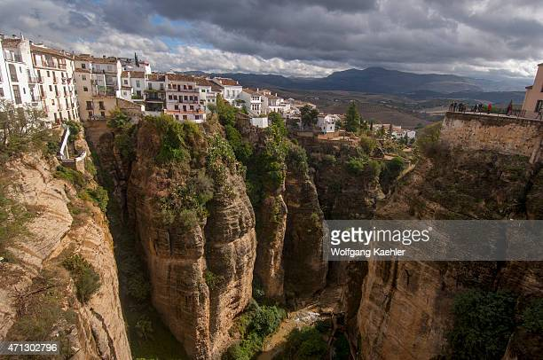 View from the Puente Nuevo a bridge over the El Tajo gorge and Rio Guadalevín spanning the gorge in the historic city of Ronda in the Spanish...