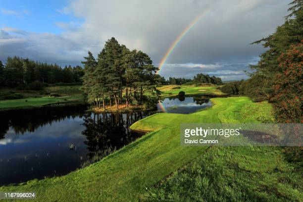 View from the recently constructed new tees to the right of the water on the par 3, 14th hole on the Queen's Course at Gleneagles on August 12, 2019...