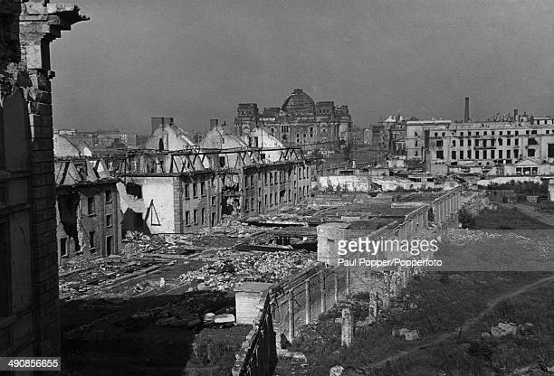 A view from the Reich Chancellery of wardamaged buildings in Berlin 1948 In the background are the ruins of the Reichstag building and on the right...