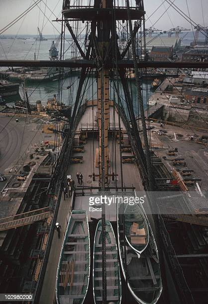 A view from the rigging of HMS Victory which sits in dry dock in Portsmouth circa 1970 HMS Victory is most famous as Lord Nelson's flagship at the...