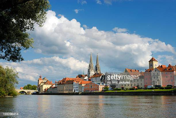 view from the river in regensburg - regensburg stock photos and pictures
