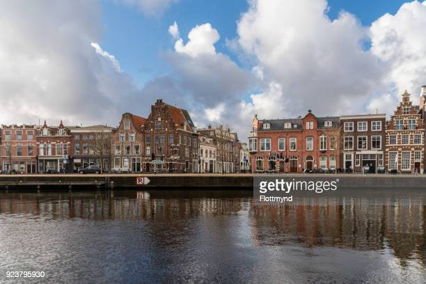 View from the river Spaarne towards the historical city center of Haarlem