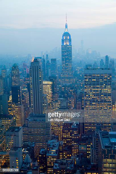 View from the Rockefeller Center with the Empire State Building at sunset in New York, United States in 2013.