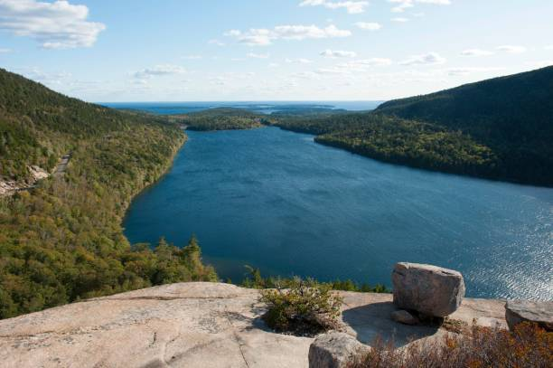 View from the rocks of Bubble Rock over Jordan Pond, Acadia National Park, Maine, New England, USA
