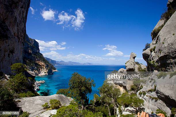 view from the rocks on the top of the beach - cala goloritze foto e immagini stock