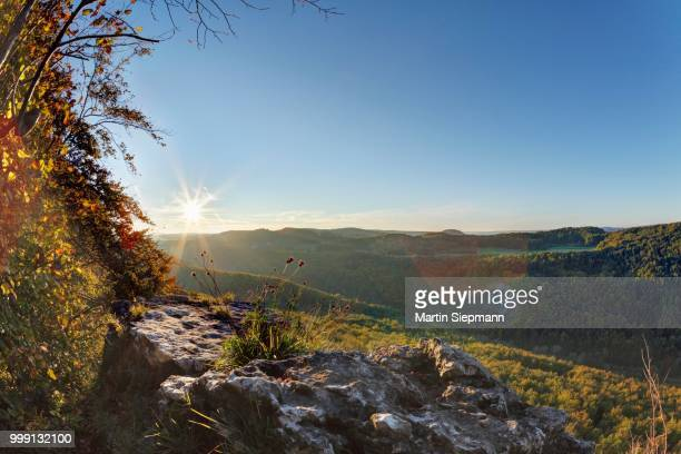 View from the Roethelfels or Roetelfels climbing rock, sunrise, Franconian Switzerland, Upper Franconia, Franconia, Bavaria, Germany