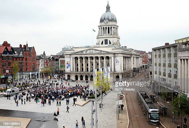 A view from the roof of Burton during a public workout of English Boxer Carl Froch at Market Square on May 20 2013 in Nottingham England