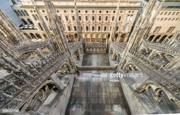 view from the roof of cathedral of milan - duomo di milano - duomo di milano foto e immagini stock