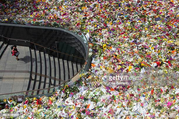 A view from the roof of Commercial Travellers Club building in Martin Place of the thousands of floral tributes for deceased hostages Tori Johnson...