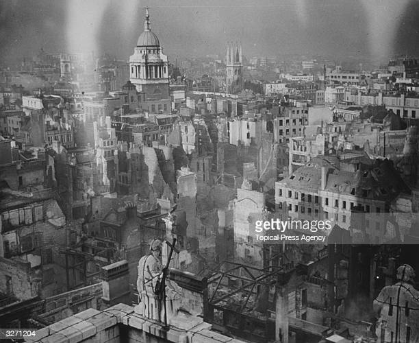 A view from the roof of St Paul's Cathedral which was itself damaged showing the devastation in the heart of the City of London The Old Bailey is...