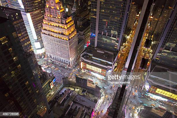 View from the rooftop bar 54 of the Hyatt Hotel over Manhattan at night on September 26 in New York City United States Photo by Thomas...
