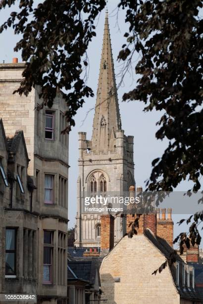 View from the rooftops of the spire of St Mary's Church dating from the 14th century with later period repairs and renovations Stamford Lincolnshire...