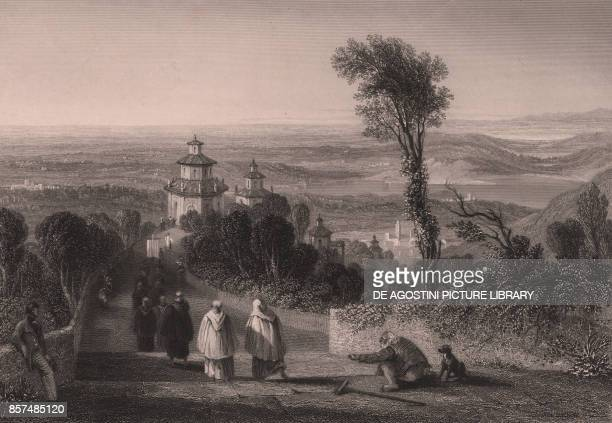 View from the Sacro Monte in Varese Lombardy Italy steel engraving by T Willmore from a drawing by William Brockedon ca 23x18 cm from Italy classical...