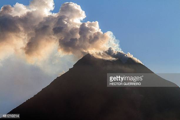 View from the San Antonio community Colima State Mexico on July 18 2015 of the Fire volcano spewing ash Hundreds of people were evacuated from...