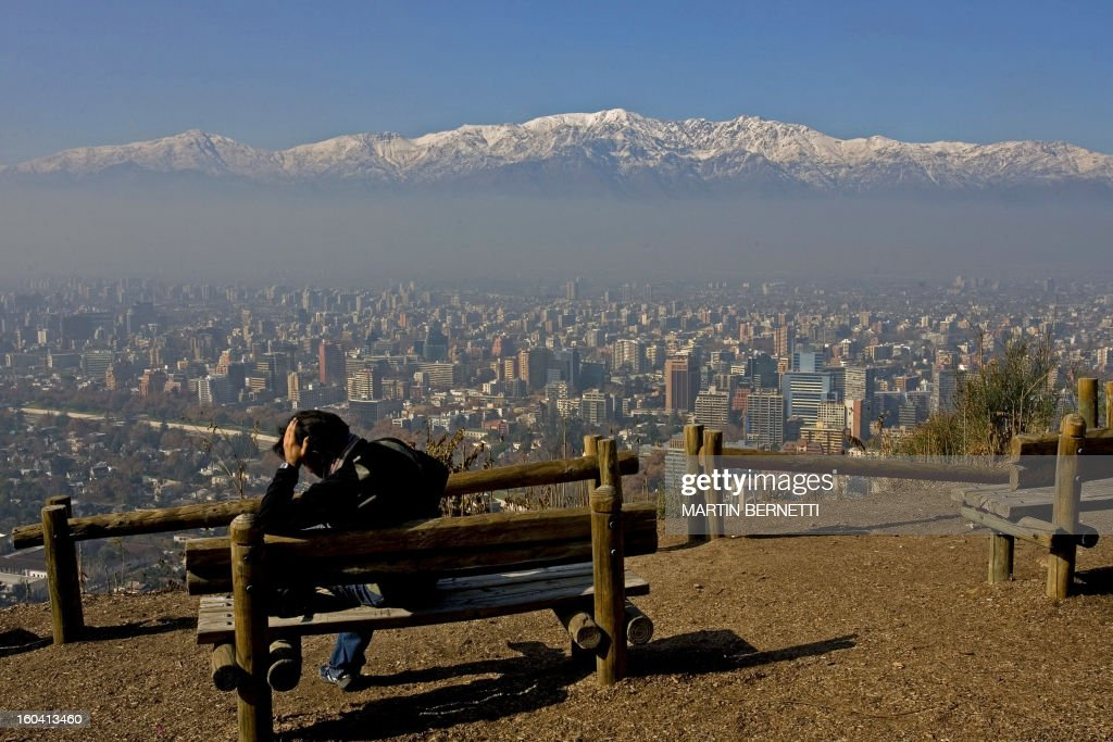 View from the San Cristobal hill of Santiago, partially covered by smog on June 01st, 2007. The Chilean capital is one of the three most polluted cities of Latin America.