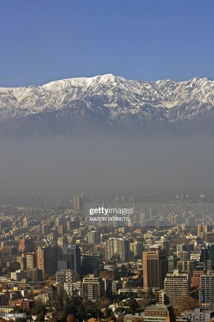 View from the San Cristobal hill of Santiago, partially covered by smog on June 1st, 2007. The Chilean capital is one of the three most polluted cities of Latin America.