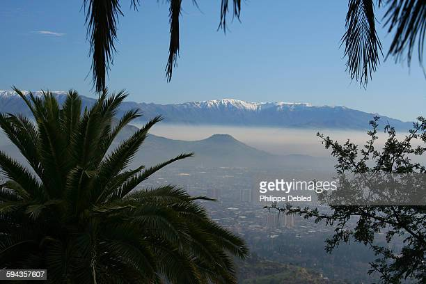 View from the San Cristobal hill of Santiago,Chile