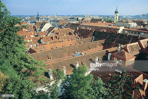 View from the Schlossberg at the roofs of the Old Town of Graz, since 1999 on the list of the World Heritage Site of the UNESCO. Photography by...