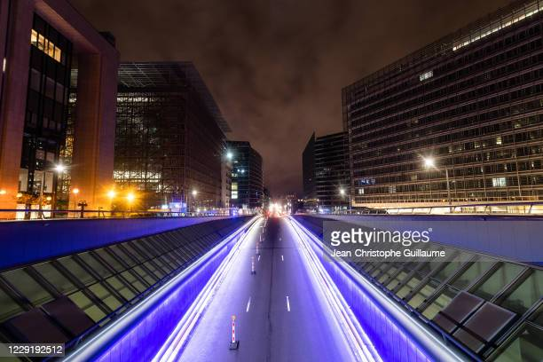 View from the schuman roundabout on the deserted rue de la loi on October 20, 2020 in Brussels, Belgium. Bars and restaurants in Brussels have been...