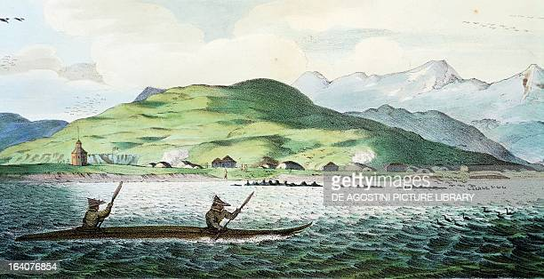 View from the sea of Oululuk, the main settlement on the island of Unalaska, engraving by Jean Augustin Franquelin , from Picturesque voyages around...