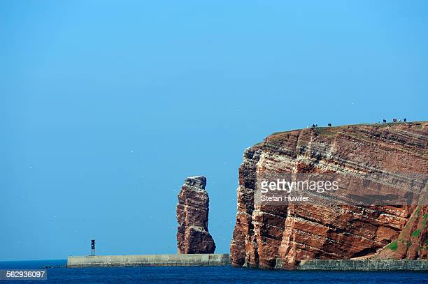 View from the sea on the Lange Anna rock, Helgoland, Schleswig-Holstein, Germany, Europe, Europe