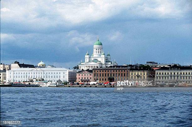 A view from the sea to the harbour and market place of Helsinki 02 July 1998