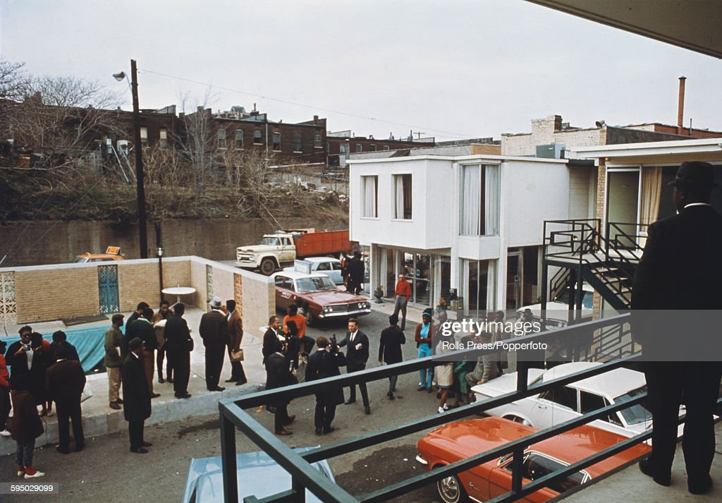 View from the second floor balcony of the Lorraine Motel overlooking the car park containing members of the press and bystanders in Memphis, United States where the civil rights leader, Martin Luther King was standing when he was assassinated on 4th April 1968.