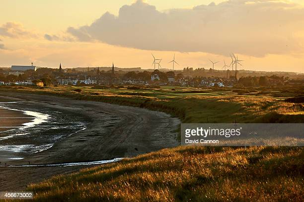 View from the second tee looking out towrads the fourth green and the Leven Links course with th etown of Leven behind at Lundin Links Golf Club on...