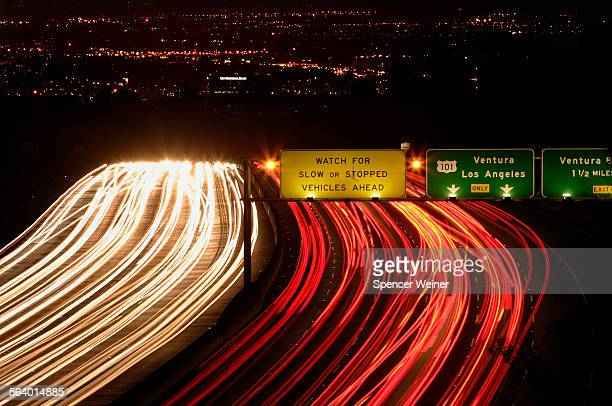 View from the sepulveda pass 405 freeway approaching the 101 freeway interchange into the San Fernando Valley photographed June 23 2006 One of the...