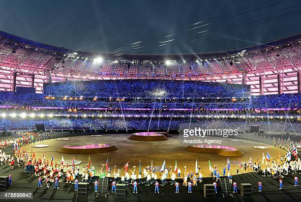 A view from the shows during the Closing Ceremony for the Baku 2015 European Games at Olympic Stadium on June 28 2015 in Baku Azerbaijan