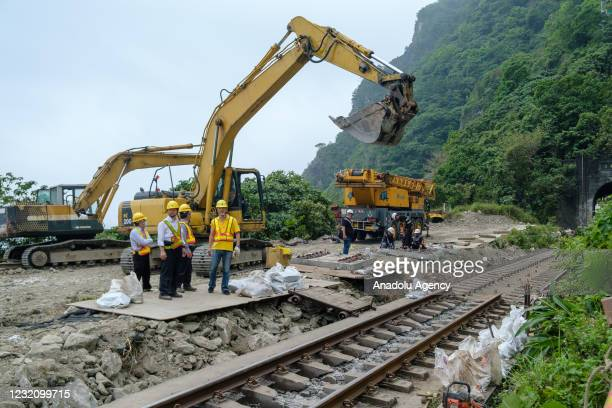 View from the site of the train crash the day after passenger train carrying more than 350 passengers derailed with at least 51 dead and dozens...