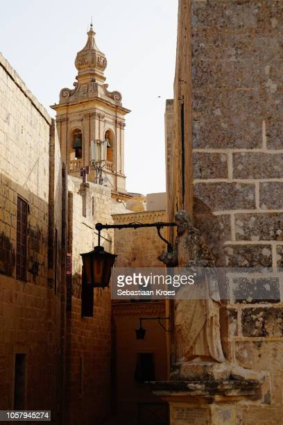 View from the small alleys of Mdina, Bell tower, Dusk, Mdina, Malta