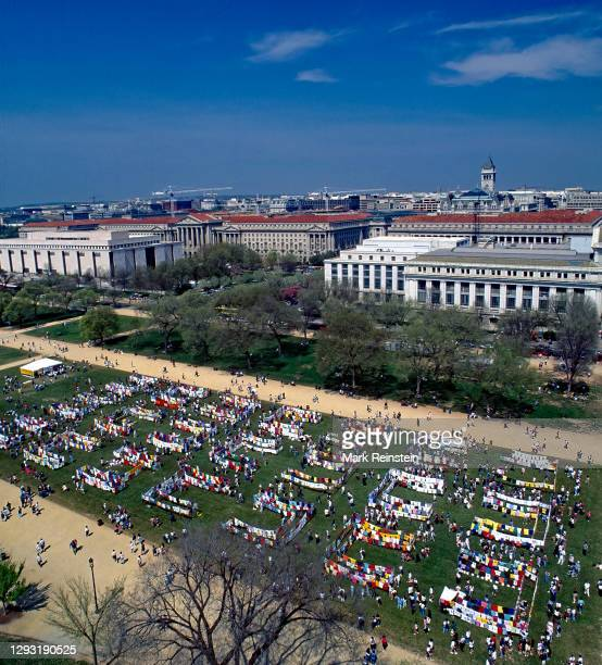 View from the Smithsonian Castle tower looking down on the Clothesline Project T-shirts on Display on the National Mall during the NOW Rally for...